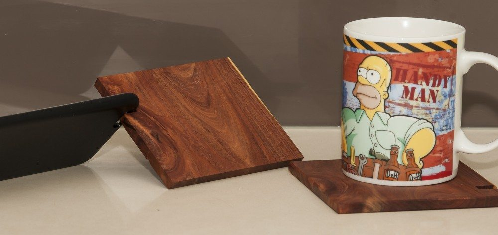 wood iphone stand and drink coaster