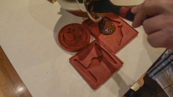pouring chocolate into mould